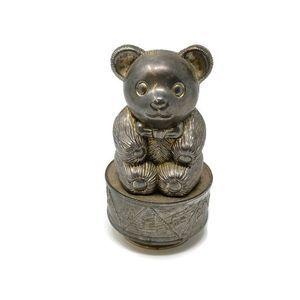 Vintage Silver Tone Teddy Bear Bank & Music Box